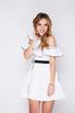 Белое платье мини с ассиметричным верхом в прокат и аренду в Киеве, Одессе, Харькове. Фото 3