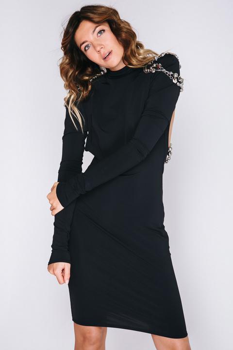 Черное платье мини с открытой спиной