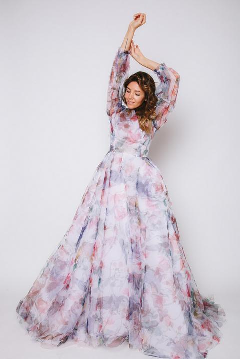 Пышное платье в пол с цветочным принтом