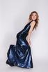 Синее платье в пол из пайетки с глубоким вырезом в прокат и аренду в Киеве. Фото 1
