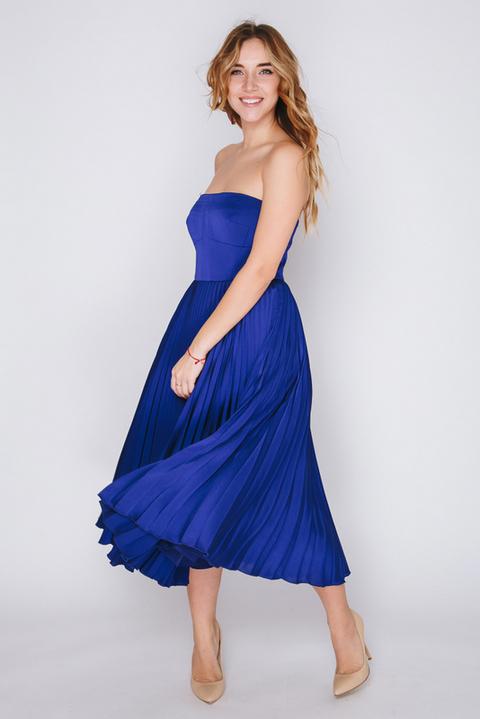 Синее платье миди с плиссированной юбкой