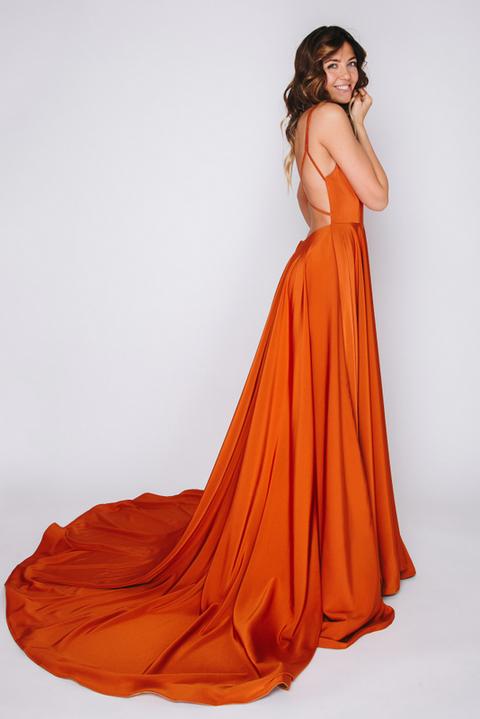 Платье на бретелях терракотового цвета