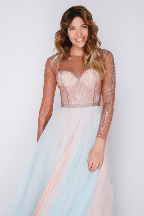 Комбинированное платье в пол с длинным рукавом