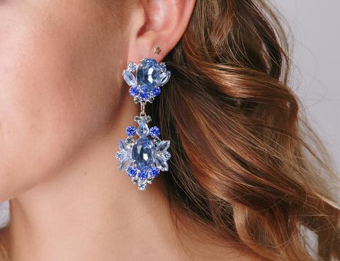 Серебряные серьги с голубым и синим камнем