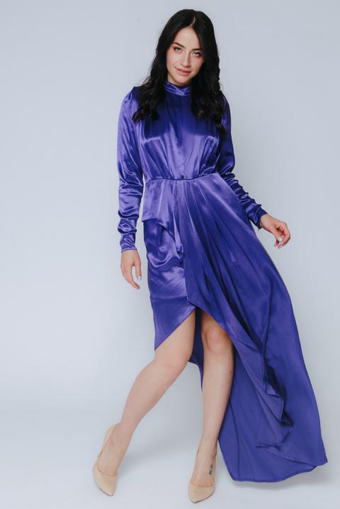 Фиолетовое платье с длинным рукавом и ассиметричным низом