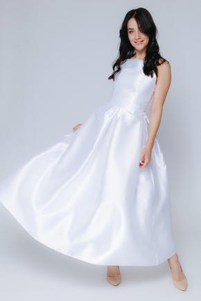 Біле плаття міді з пишною спідницею і відкритими плечима в прокат и oренду в Киiвi. Фото 1