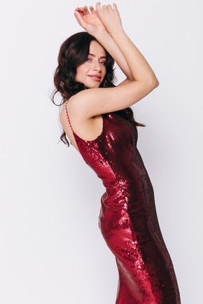 Червона сукня в підлогу з паєтки на тонких брітелямі в прокат и oренду в Киiвi. Фото 2