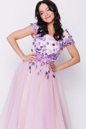 Лавандове плаття з квітковою аплікацією в прокат и oренду в Киiвi. Фото 2