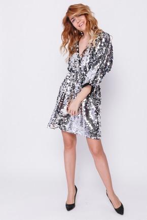 Сукня міні в срібних пайєтках на запах в прокат и oренду в Киiвi. Фото 2