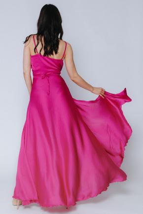 Пурпурне плаття в підлогу на тонких бретельках в прокат и аренду в Киеве. Фото 2