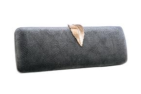 Довгий клатч графітового кольору з золотим листком в прокат и oренду в Киiвi. Фото 1