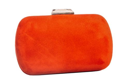 Замшевый клатч морковного цвета с золотой застежкой