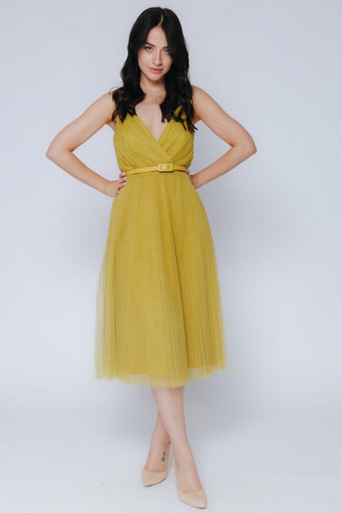 Платье миди оливкового цвета на бретелях
