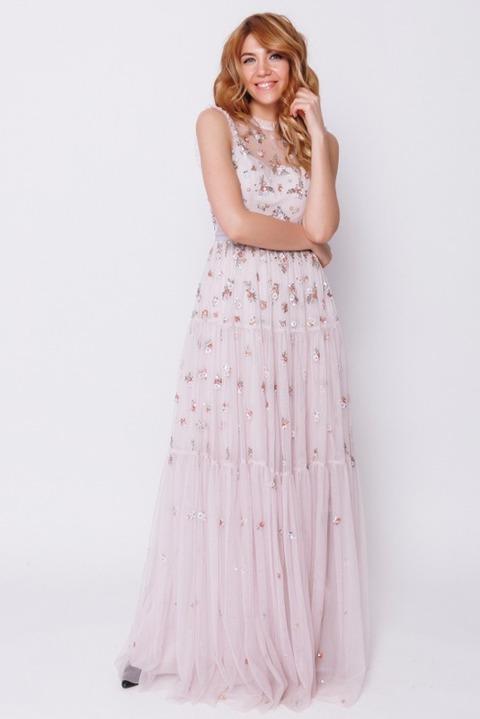 Пепельно-розовое платье в пол с пайетками и бисером