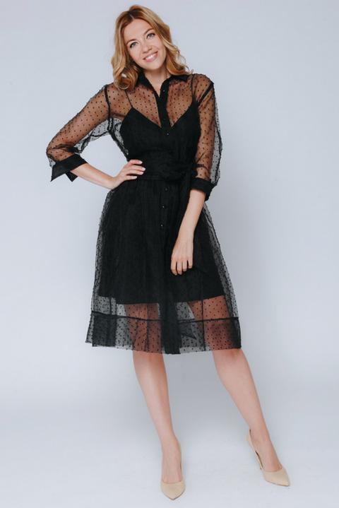 Черное комбинированное платье в горох с поясом