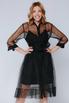 Черное комбинированное платье в горох с поясом в прокат и аренду в Киеве. Фото 2