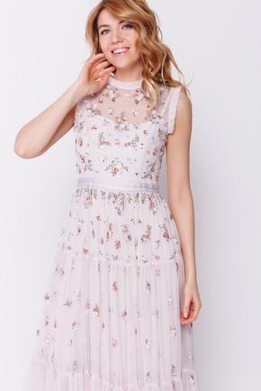 Попелясто-рожеву сукню в підлогу з паєтками і бісером в прокат и oренду в Киiвi. Фото 2