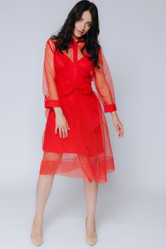 Красное комбинированное платье в горох с поясом в прокат и аренду в Киеве, Одессе, Харькове. Фото 4