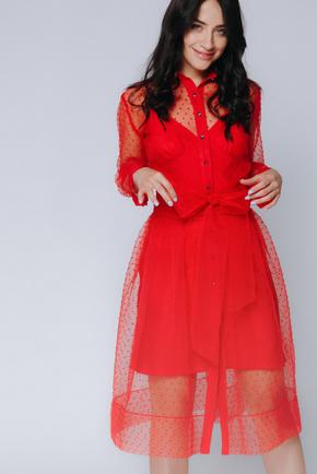 Червоне комбіноване плаття в горох з поясом в прокат и oренду в Киiвi. Фото 1