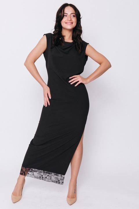 Черное платье в пол с кружевной деталью