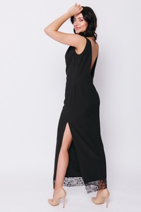 Чорна сукня в підлогу з мереживною деталлю в прокат и oренду в Киiвi. Фото 2