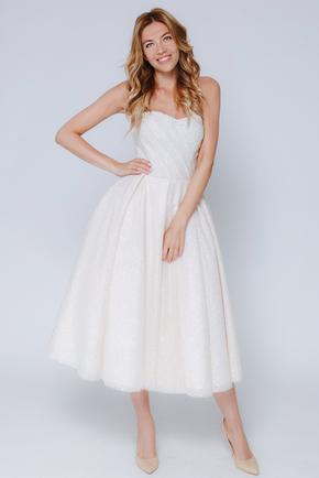 Бежева сукня міді з мерехтінням в прокат и oренду в Киiвi. Фото 1