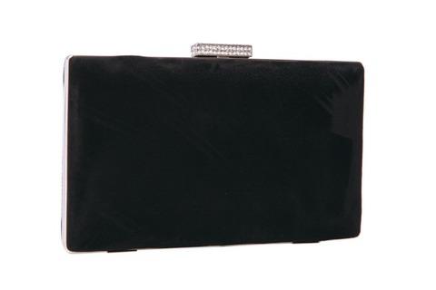 Замшевый черный клатч прямоугольной формы с серебрянной застежкой