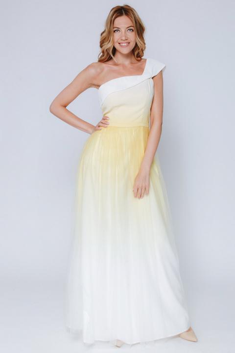 Белое платье макси с лимонным градиентом на одно плечо