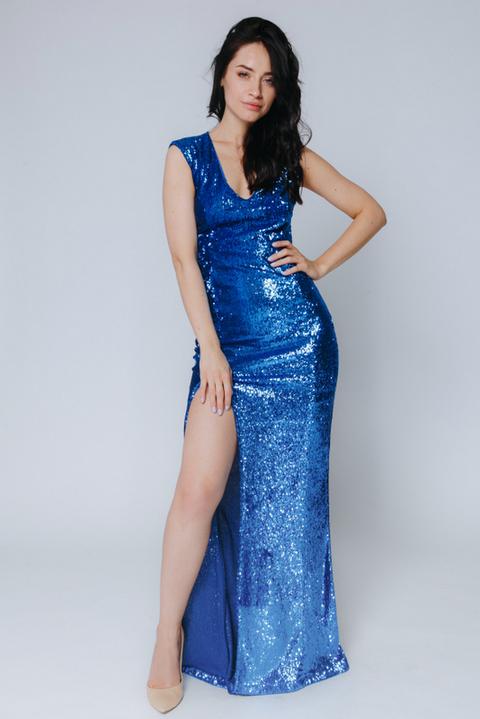 Синие платье макси в пайетках