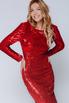 Красное платье в пайетках с длинным рукавом в прокат и аренду в Киеве, Одессе, Харькове. Фото 2