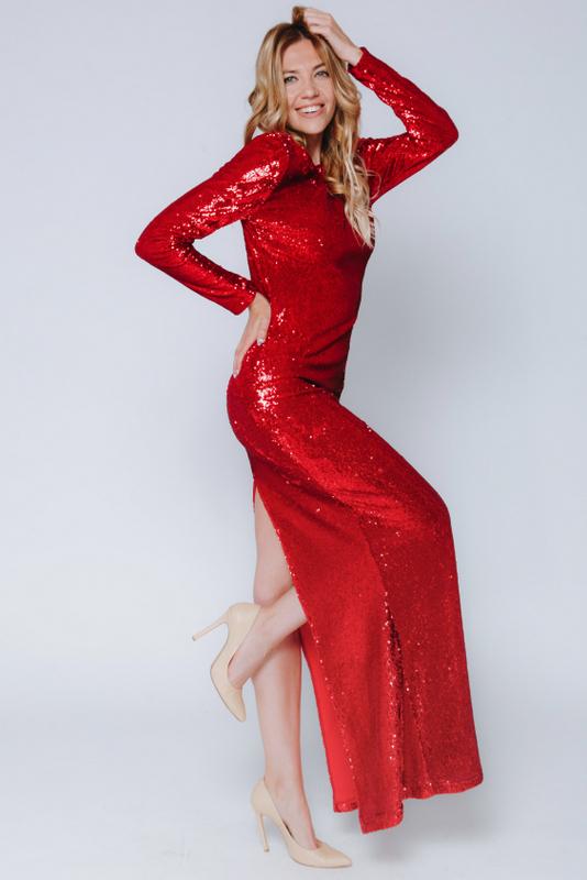 Красное платье в пайетках с длинным рукавом в прокат и аренду в Киеве, Одессе, Харькове. Фото 3