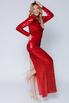 Красное платье в пайетках с длинным рукавом в прокат и аренду в Киеве. Фото 3