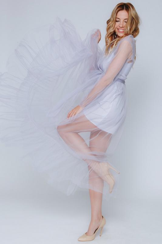 Комбинированное лиловое платье в прокат и аренду в Киеве, Одессе, Харькове. Фото 2