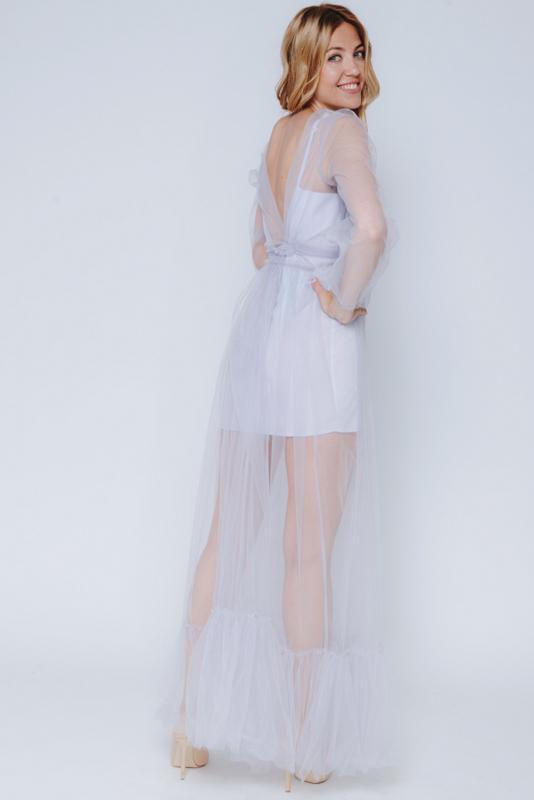 Комбинированное лиловое платье в прокат и аренду в Киеве, Одессе, Харькове. Фото 3