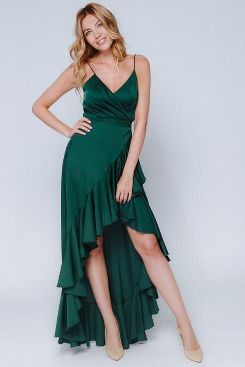 Темно- зеленое платье с переменной длиной на запах