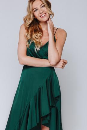 Темно зелена сукня зі змінною довжиною на запах в прокат и oренду в Киiвi. Фото 2