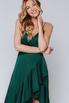 Темно- зеленое платье с переменной длиной на запах в прокат и аренду в Киеве, Одессе, Харькове. Фото 2