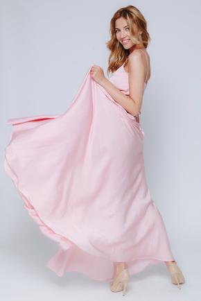 Ніжно-рожева сукня в підлогу на тонких бретельках в прокат и oренду в Киiвi. Фото 2