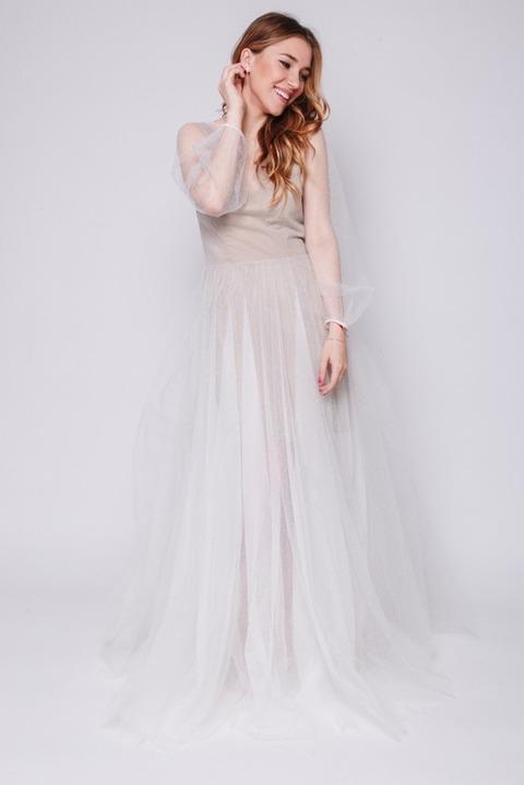 Платье макси в горох с бежевой подкладкой