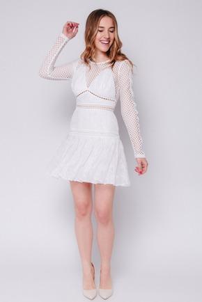 Біле плаття міні з мережива з довгим рукавом в прокат и oренду в Киiвi. Фото 2
