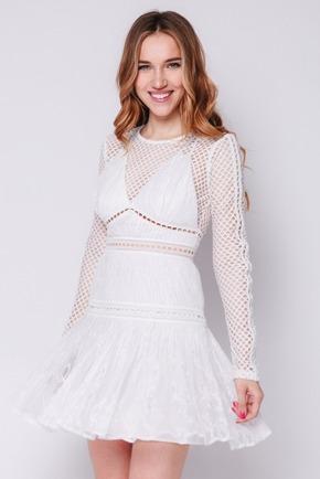 Біле плаття міні з мережива з довгим рукавом в прокат и oренду в Киiвi. Фото 1