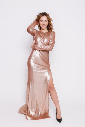Золоте плаття в підлогу з паєтки з довгим рукавом в прокат и oренду в Киiвi. Фото 1