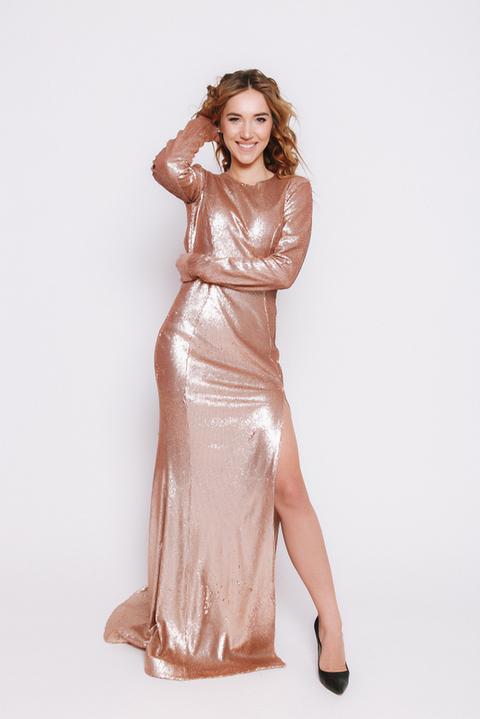 Золотое платье в пол из пайетки с длинным рукавом
