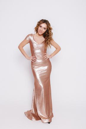 Золоте плаття в підлогу з коротким рукавом в прокат и oренду в Киiвi. Фото 1