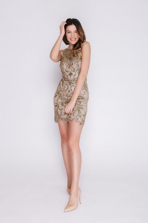 Золотое платье мини с золотыми камнями