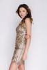 Золотое платье мини с золотыми камнями в прокат и аренду в Киеве, Одессе, Харькове. Фото 2