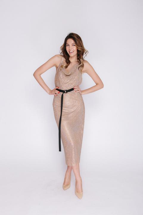 Золотое платье миди из камней