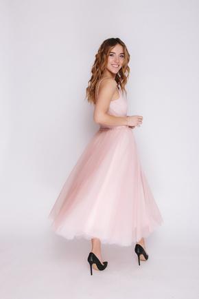 Рожева сукня міді з пишною спідницею на намистинами в прокат и oренду в Киiвi. Фото 2