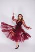 Темно- бордовое платье на запах с фатиновым верхом в прокат и аренду в Киеве, Одессе, Харькове. Фото 2