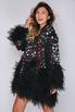 Черное платье мини с перьями и звездами в прокат и аренду в Киеве, Одессе, Харькове. Фото 1